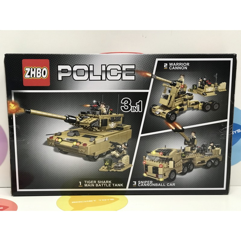 Конструктор - Police Танк 3 в 1 609 дет. ZB5520