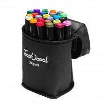Набор двусторонних маркеров для скетчинга 24 цвета в чехле
