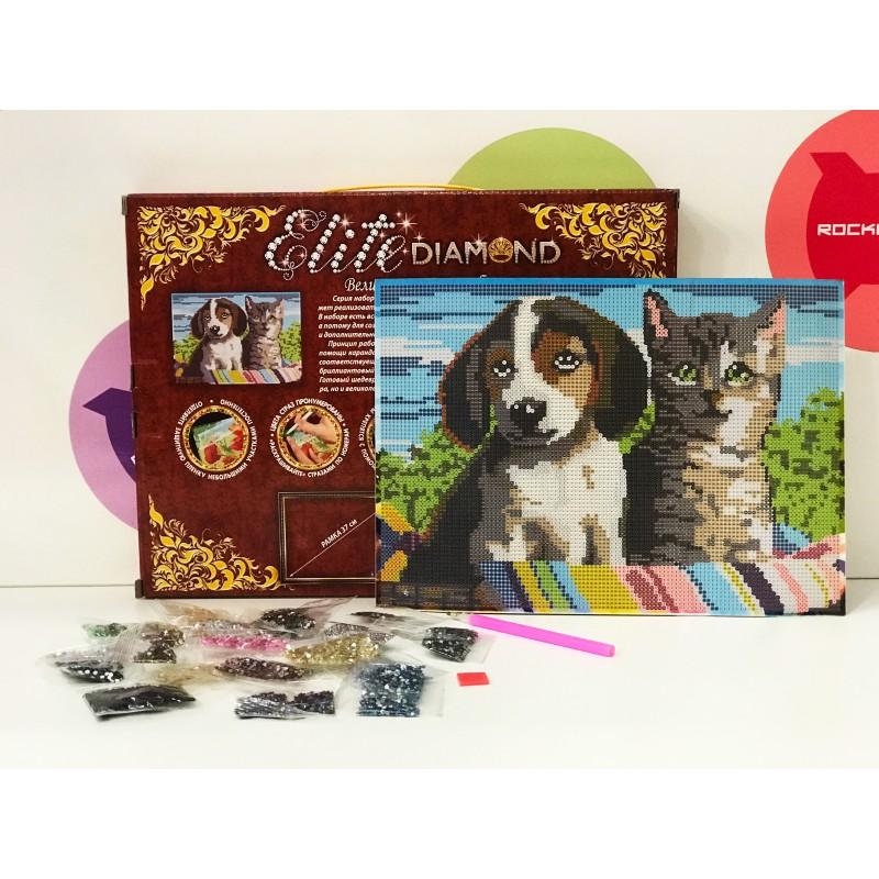 Набор для творчества - Алмазная мозаика Кошка и Собака
