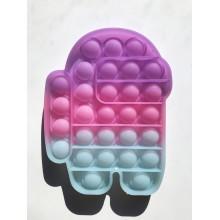 Сенсорная игрушка антистресс POP it Fidget с пузырьками неоновая Among