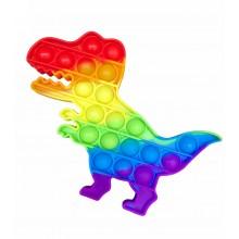 Сенсорная игрушка антистресс POP it Fidget с пузырьками радужная Динозавр