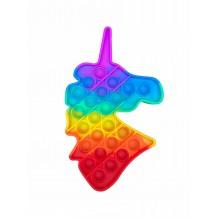Сенсорная игрушка антистресс POP it Fidget с пузырьками радужная Единорог